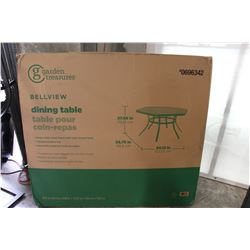BELLVIEW PATIO DINING TABLE NEW IN BOX AND 6 CHAIRS