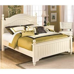 ASHLEY FURNITURE FLOOR MODEL QUEEN SIZE CONTEMPORARY WHITE BEDFRAME AND 2 MATCHING ENDTABLES RETAIL
