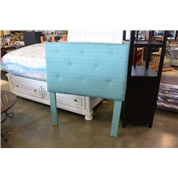 NEW ASHLEY FURNITURE TEAL TUFTED TWIN SIZE HEADBOARD RETAIL $399