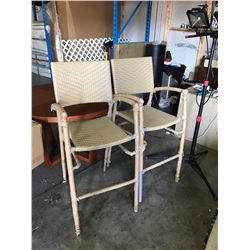 2 NEW ALUMINUM AND WICKER FRAMED TALL PATIO BARSTOOL