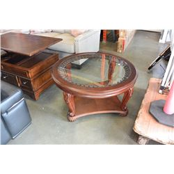 NEW ASHLEY ROUND CARVED MAHOGANY GLASS TOP COFFEE TABLE RETAIL $599