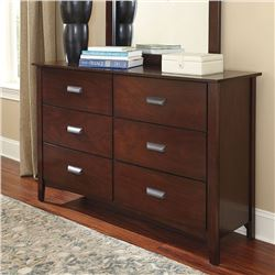 NEW ASHLEY FURNITURE DARK FINISH MODERN 6 DRAWER DRESSER, RETAIL $1299