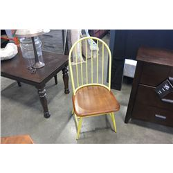 WOOD AND METAL FRAME DECORATIVE SIDE CHAIR