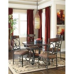 NEW ASHLEY SIGNATURE CARVED ROUND MAHOGANY DINING TABLE WITH GLASS CENTRE AND 4 UPHOLSTERED CHAIRS R