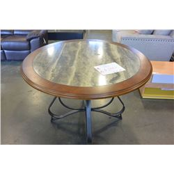 NEW ASHLEY ROUND DINING TABLE WITH DECORATIVE METAL BASE RETAIL $899