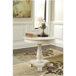 ASHLEY FLOOR MODEL WHITE ROUND RUSTIC ENDTABLE, MINOR COSMETIC DAMAGE RETAIL $359