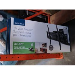 NEW OVERSTOCK INSIGNIA 47-80 INCH FULL MOTION POSITION TV WALL MOUNT, COMPLETE, UP TO 110LBS