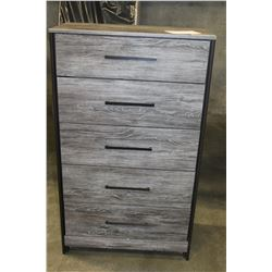 NEW ASHLEY SIGNATURE DESIGN RECLAIMED PATTERN 5 DRAWER CHEST OF DRAWERS, RETAIL $899