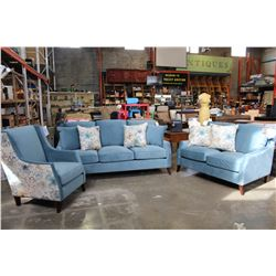 NEW COMFORTLAND 3 PIECE FABRIC AND FEATHER DOWN SOFA, LOVESEAT AND CHAIR, WITH THROW PILLOWS, RETAIL