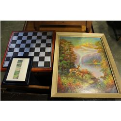 DEER WATERFAL AND WAINBOW PRINT WITH WATER COLOR SIGNED PAINTING AND CHESS BOARD