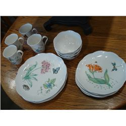 4 PLACE SETTINGS LENOX BUTTERFLY MEADOW CHINA SET