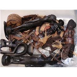 TOTE OF AFRICAN ETC CARVINGS