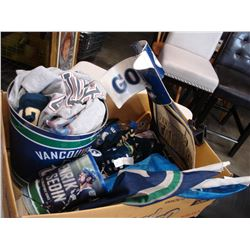 BOX OF CANUCKS COLLECTIBLES