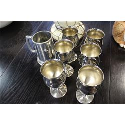 BIRKS BEER STEIN AND SILVER PLATE WINE GOBLETS