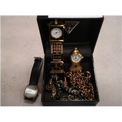 MINIATURE BRASS CLOCKS AND SEIKO WATCH AND CHAINS