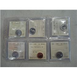 LOT OF SIX ICCS GRADED NICKELS AND PENNY