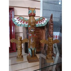 LOT OF WOOD CARVING AND TOTEM POLES