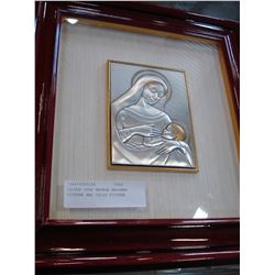 SILVER OVER BRONZE MADONNA PICTURE AND CHILD PICTURE