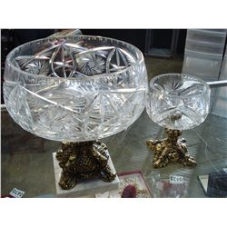 2 CRYSTAL AND BRASS CANDY DISHES