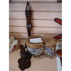 ANIMAL SKIN DRUM W/ POTTERY VASE AND CARVED ROOSTER AND WOMAN