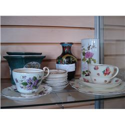 3 PIECE DOULTON TEASET PARAGON CUP SAUCER CLOISONNE STYLE VASE AND PIN DISHES ETC