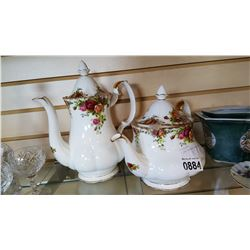 2 OLD COUNTRY ROSE TEAPOTS CRACK IN LID