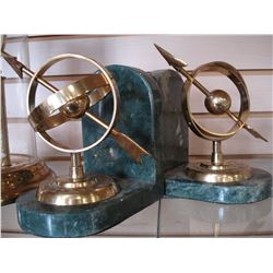 TWO VINTAGE MARBLE BOOKENDS AND DOME CLOCK