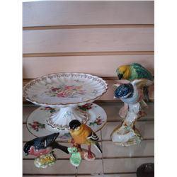 STAFFORDSHIRE PLATES AND BESWICK BIRDS ETC