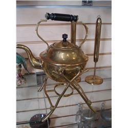 BRASS TODDY KETTLE AND CANDLE STICKS