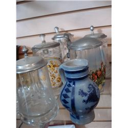 LOT OF BEER STEINS AND POTTERY JUG