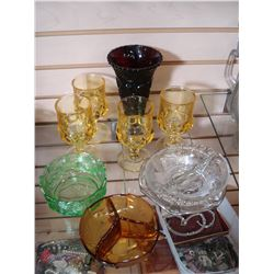 COLORED GLASSWARE AND THUMB PRINT GLASSES