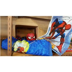BOX OF SPIDERMAN COLLECTIBLES AND TOYS