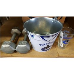 CANUCKS METAL PAIL, COASTERS AND GLASS AND DUMBELLS