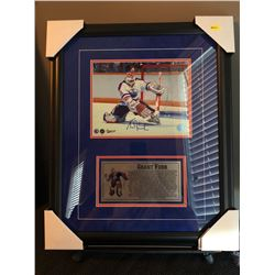 FRAMED 16X20 GRANT FUHR AUTOGRAPHED PHOTO W/4X8 CUSTOM SUBLIMATED NAME PLATE COA INCLUDED