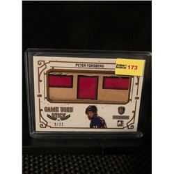 PETER FORSBERG 2017 ITGAME USED STICK STICKWORK CARD 9/22