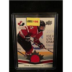JOHN QUENNEVILLE 2014 UD TEAM CANADA JUNIORS GAME WORN JERSEY CARD