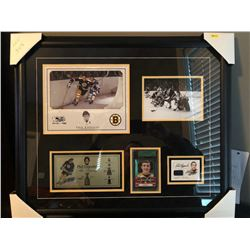 20X24 FRAMED PHIL ESPOSITO AUTOGRAPHED JERSEY CARD AND ULTIMATE 2012/13 12TH EDITION CARD W/4X8 CUST