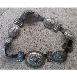 Navajo Leather & Sterling Silver Concho Belt
