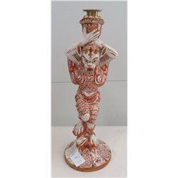 Antique Majolica Lusterware Candlestick