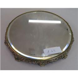 Bevelled Mirror in Brass Stand