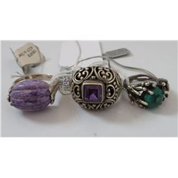 3 Sterling Silver & Stone Rings