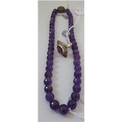 Faceted Amethyst Bead Necklace & Ring