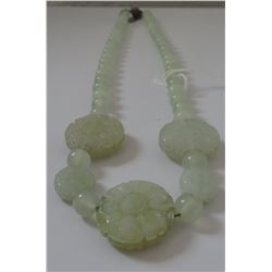 Chinese Jade Necklace w/Carved Flowers