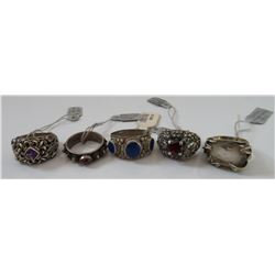 5 Sterling Silver & Stone Rings