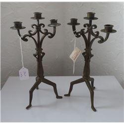 Pair of Bronze Art Nouveau Candlestick Holders