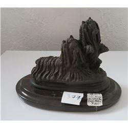 Bronze Yorkie Dog Sculptures on Base
