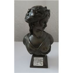 Bronze Bust of Lady Signed LVE Robert