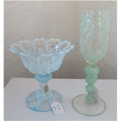 Venetian Glass Goblet & Rare Crystal Compote