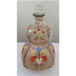 European Blown Glass Handpainted Bottle