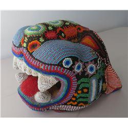 Huichol Beaded Jaguar Head